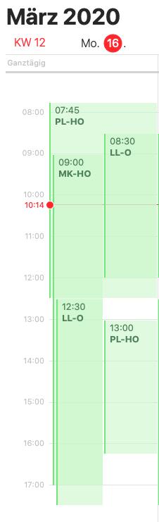Ein Kalender, um Ihren Kollegen mitzuteilen, wann Sie arbeiten